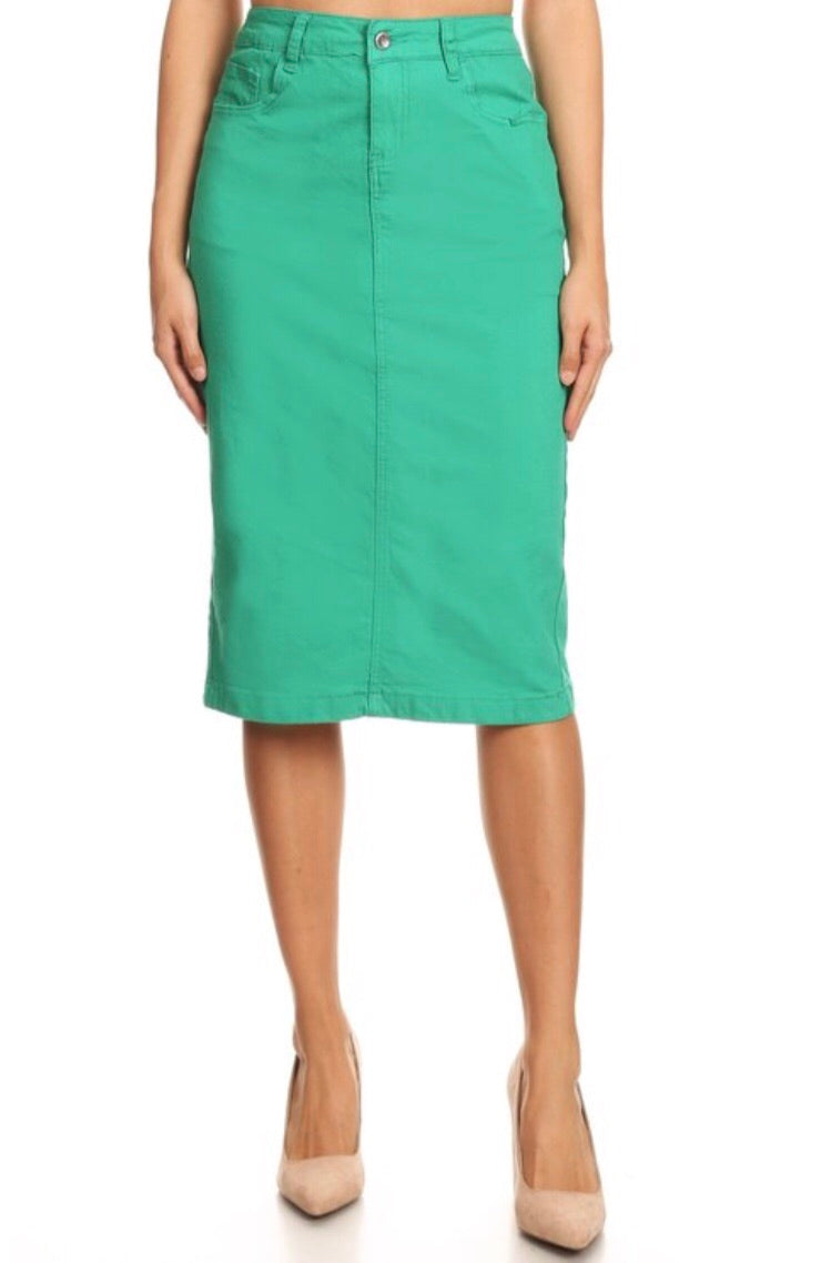Twill Midi Skirt - Kelly Green