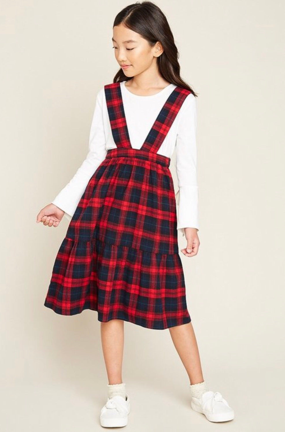 GIRLS- Red Plaid Overall Dress