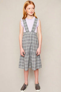 GIRLS- Grey Plaid Overall Dress