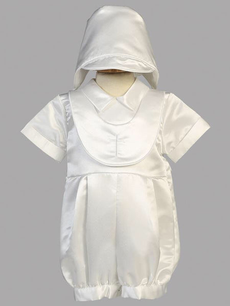 eaab5da019f Two Piece White Satin Baby Boy s Christening Romper Outfit with Cross  Embroidered Attached Bib