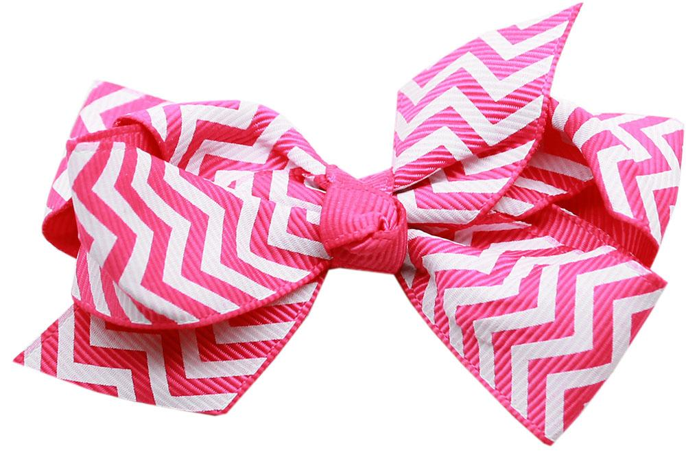 Hair Bow Chevron Alligator Clip Pink