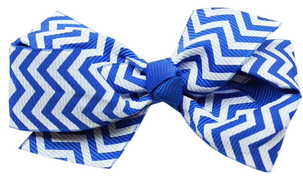 Hair Bow Chevron Alligator Clip Blue