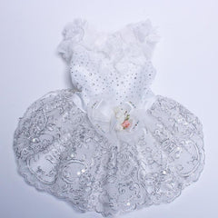Elegant White Sequined Lace Formal Pet Dress with Rhinestones & Floral