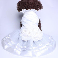 Elegant White Satin Formal Pet Dress with Pearl Floral Adornments