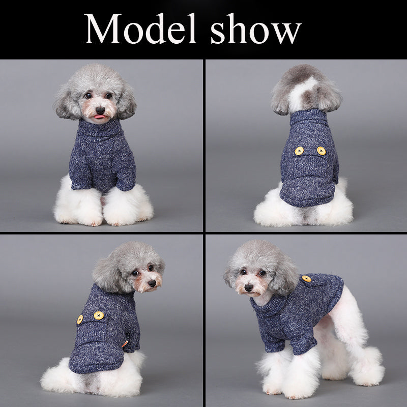 Fashionable Turtleneck Pet Sweater with Decorative Buttons