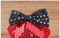 Shining Star Sequined Bow Harness with Leash in Black or Red