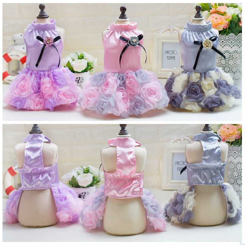 Elegant Floral Skirted Pet Dresses in 3 Beautiful Colors