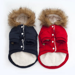 Fashionable Winter Hooded Pet Coats with Faux Fur Trim in Red or Navy