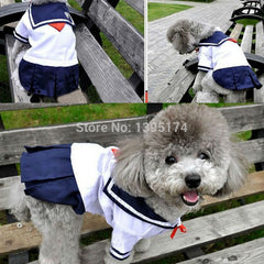 Sailor Uniform Style Pet Dress with Navy Blue Skirted Bottom and White Top
