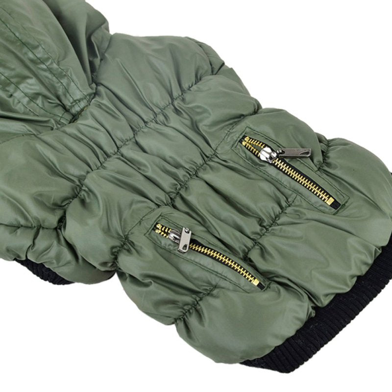 Warm Hooded Pet Jacket with Faux Fur Trim and Zippered Pockets