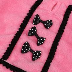 Warm Hooded Bowtie Jacket in Pink or Black for Small Pets