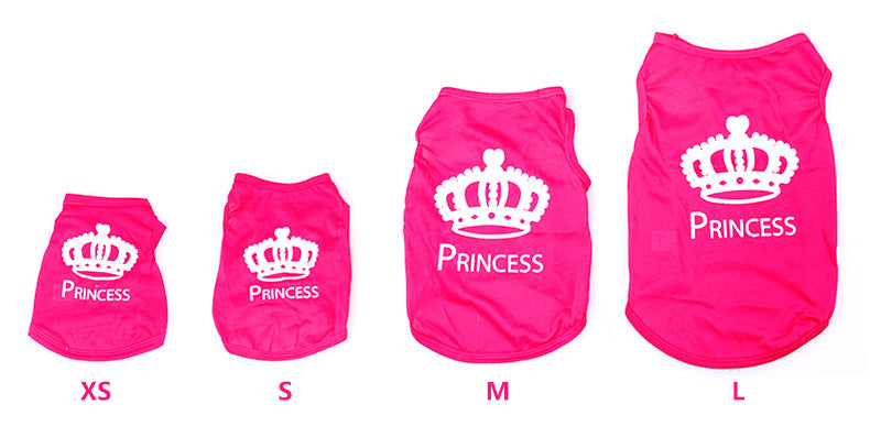 Pink Princess with White Crown Pet T-Shirts