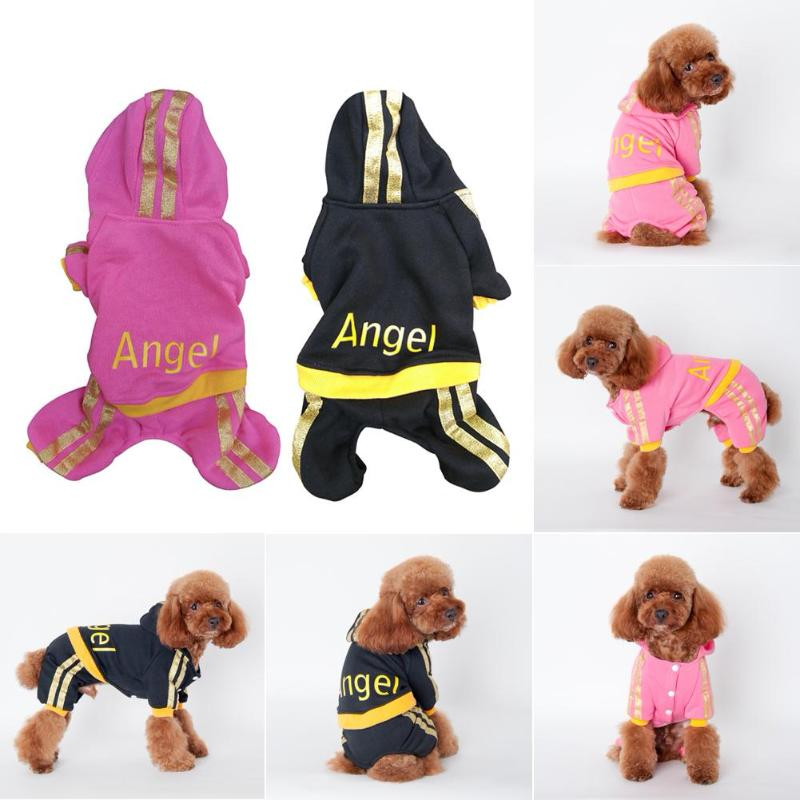 Angel Print Cotton Hooded Button Down Pet Sweatsuits in Pink or Black