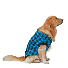 Plaid Button Down Hoodie Pet Jacket with Removable Hood