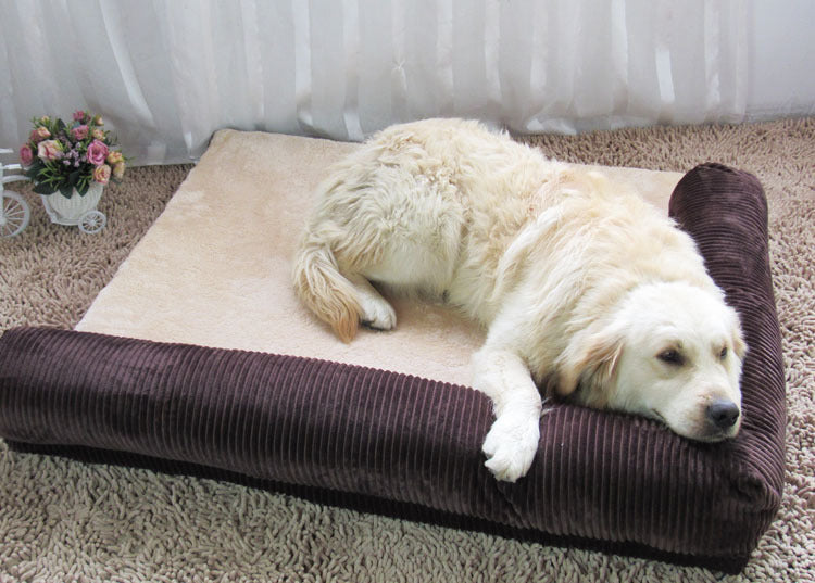Comfortable Corduroy Pet Bed with Pillow in Red or Brown