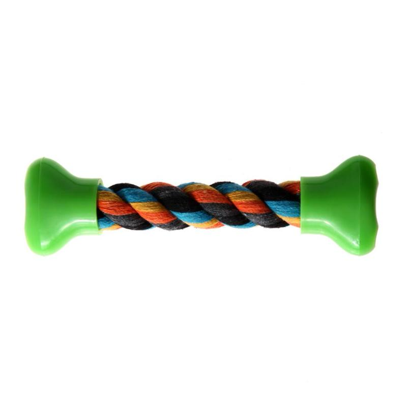 Rainbow Cotton Braided Bone Rope Chew Toy