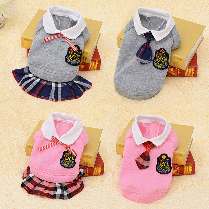 Prep School Collared Top with Tie or Prep School Collard Top with Plaid Skirted Dress