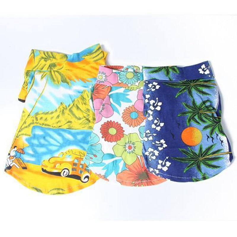 Summer Beach Hawaiian Short Sleeved Collared Pet Top in 3 Prints