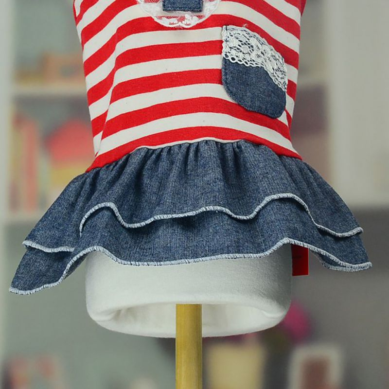 Striped Dress with Laced Top Pocket and Denim Skirt in 2 Color Styles