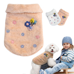 Warm Soft Pet Coat with beautiful adorned Flowers in Pink or White