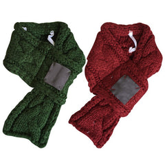 Warm Knitted Winter Pet Scarves in Red or Green