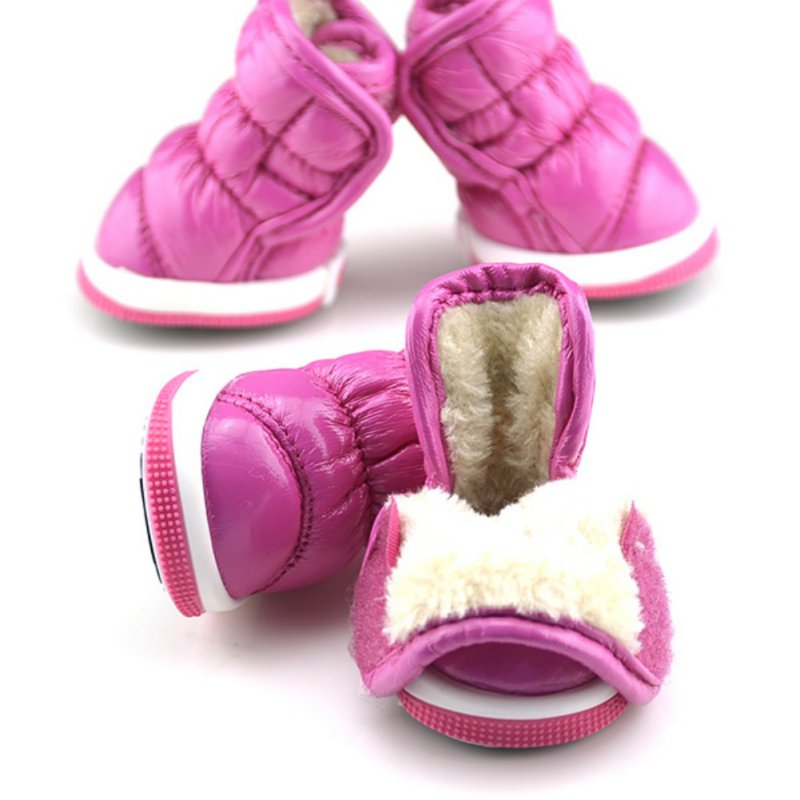 Fashionable Waterproof Warm Puff Style Pet Boots with Plush Lining