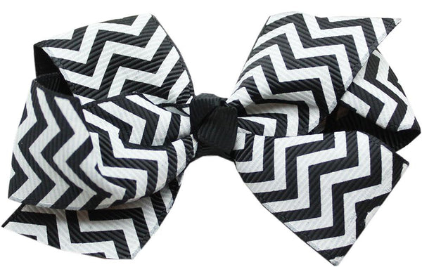 Hair Bow Chevron Alligator Clip Black