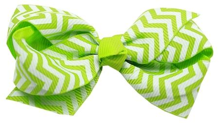 Hair Bow Chevron Alligator Clip Green