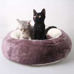 Hot Seller! Big Fluffy, Round Warm Velvet Pet Bed in 3 Colors - One Size