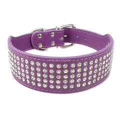 Rhinestone Studded Leather Collars