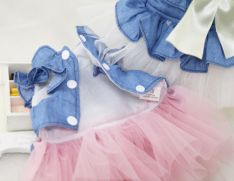 Jean & Tulle Dress w/ Bow
