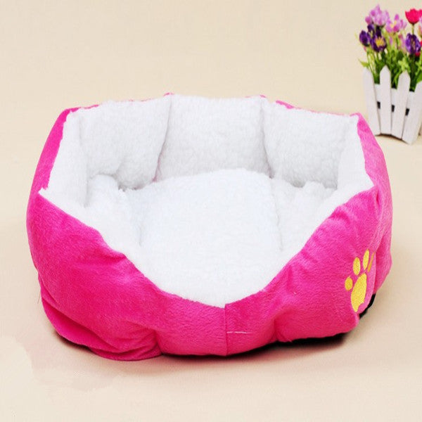 Paw Print Soft Fleece Pet Beds in Bright Colors