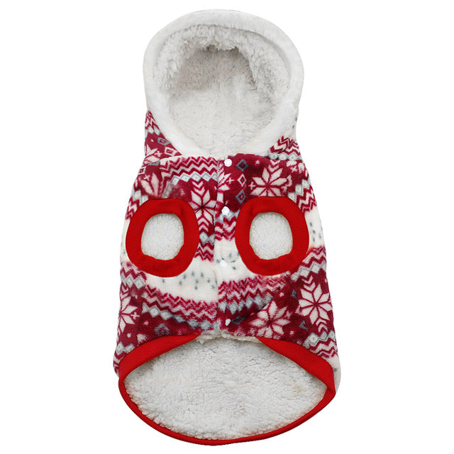 Hot Seller! Warm Winter Snowflake Hoodie Pet Sweaters in Red or Brown