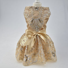 Beautiful Lace Embroidered Sequined Bow Pet Dress