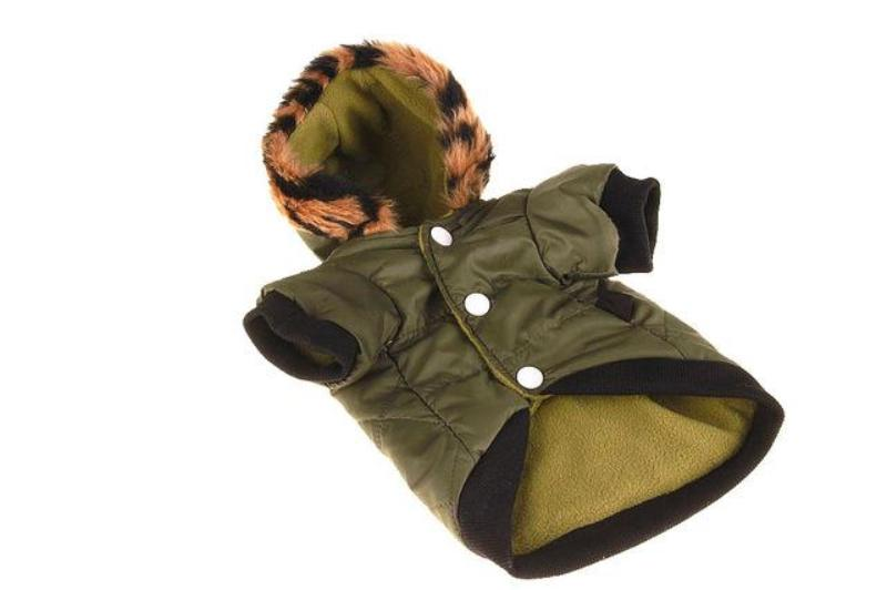 Winter Warm Hooded Pet Jacket with Leopard Print Faux Fur Trim