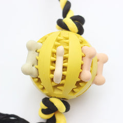 Rubber Treat Dispenser Ball with Rope Chew Toys