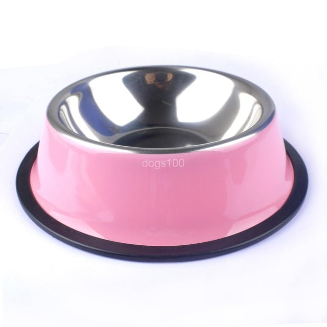 Stainless Steel Feeding Bowls in 5 Bright Colors – 4 Sizes