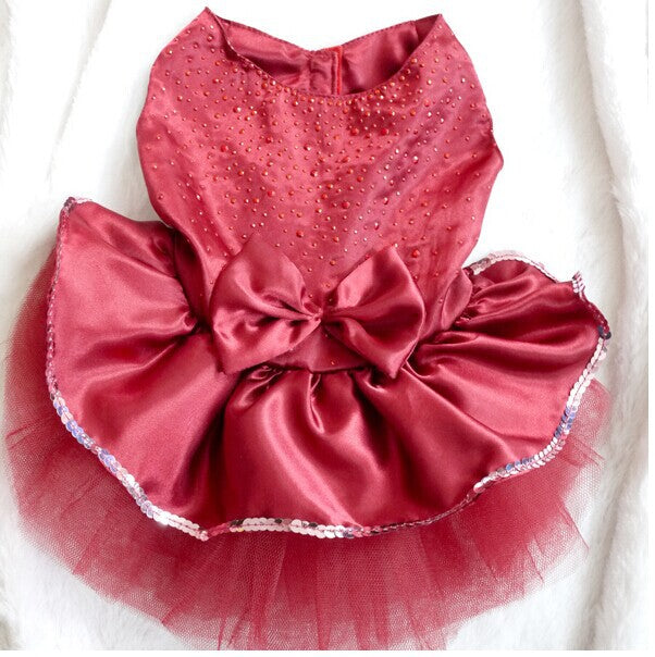 Enchanting Silk Bowknot Pet Party Dress with Tutu Skirt in 3 Beautiful Colors