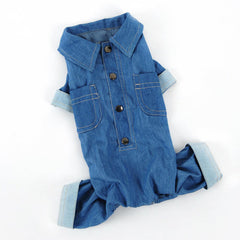 Fabulous Denim Collared Pet Jumpsuit with Pockets & Cuffed Sleeves