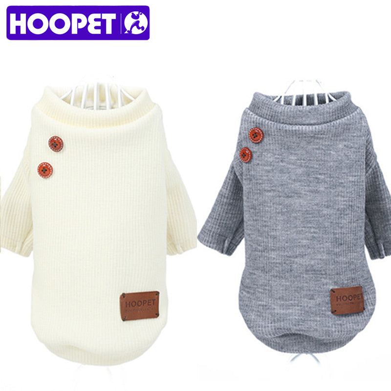 Classic Long Sleeve Pet Sweaters with Decorative Buttons and Elbow Patches