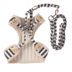 Stylish Striped Pet Harness Vests with Bow and Leash