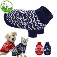 Winter Warm Snowflake Pet Sweaters in Red or Navy Blue