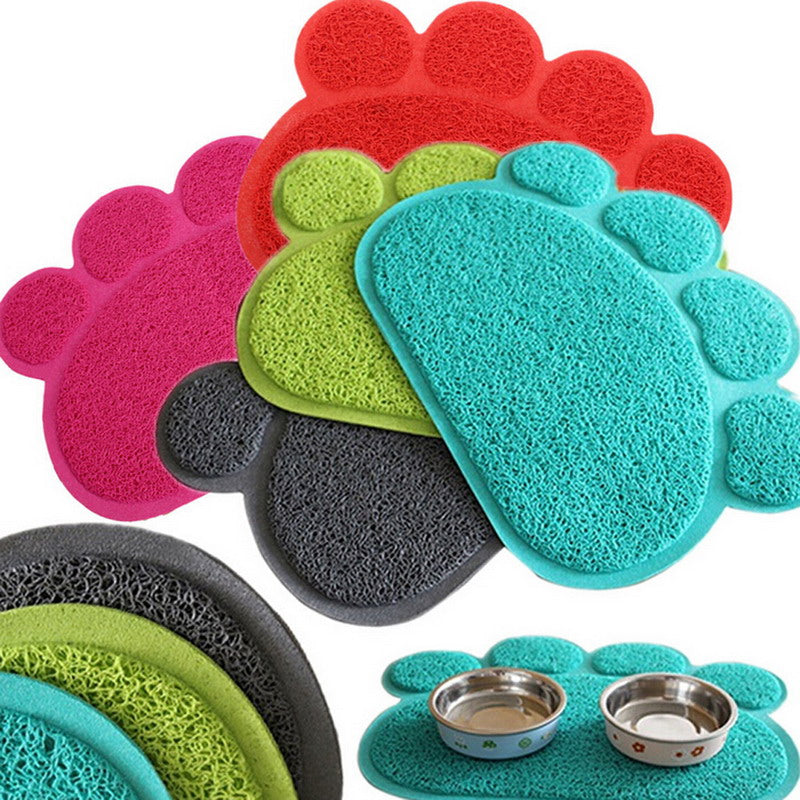 Hot Seller! Paw Shape Placemat for Feeding Bowls & Dishes – 15.7 inches in Bright Colors