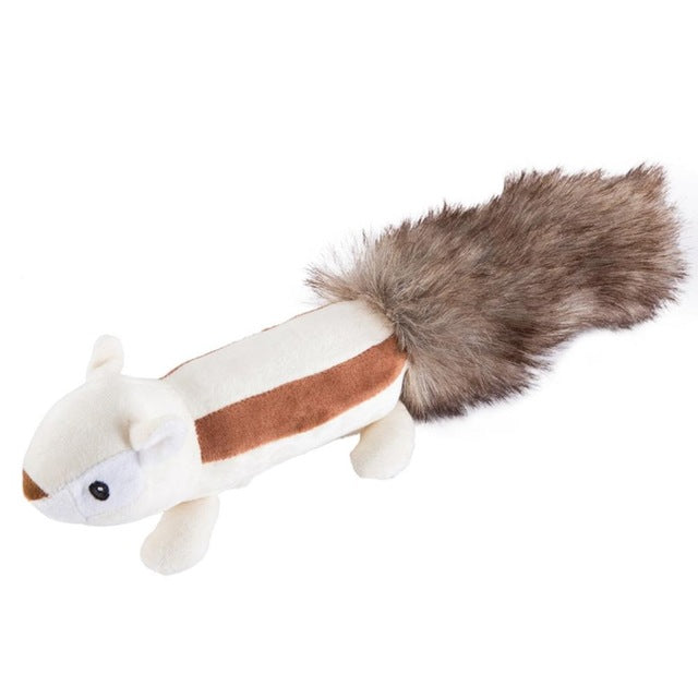 Plush Squirrel or Skunk Squeaky Pet Toy