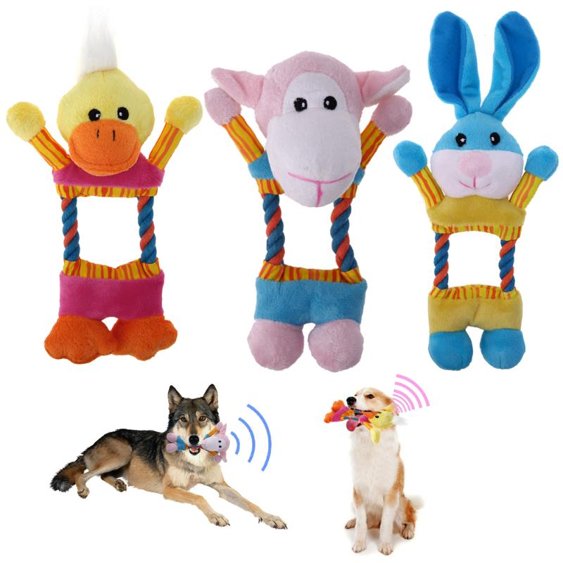 Animal Shapes with Braided Ropes Squeaky Plush Pet Toys