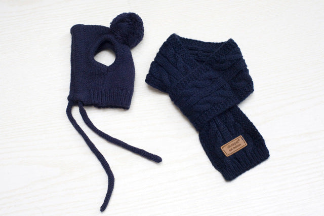 Stylish Knitted Pet Hats & Scarf Sets in 3 Colors