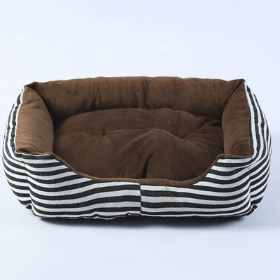 Warm Soft Pet Bed in Stripes or Dots in Various Colors - S - L