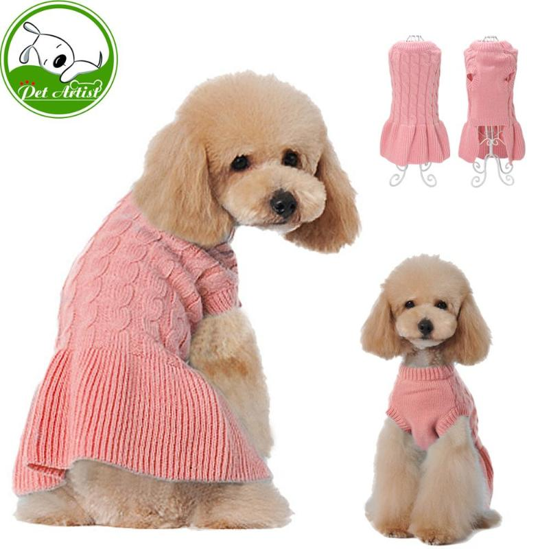 Pretty in Pink! Warm Knitted Pet Sweater Dress in a Sweet Pink Color