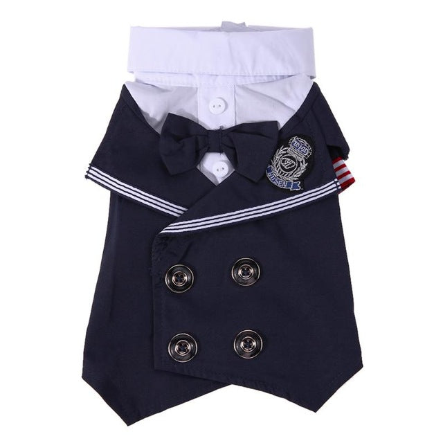 Super Cute Sailor Style Pet Suit Jacket with Bowtie, Double Breasted Buttons