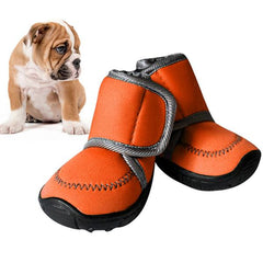 Non-slip Solid Winter Pet Shoes in Orange or Pink